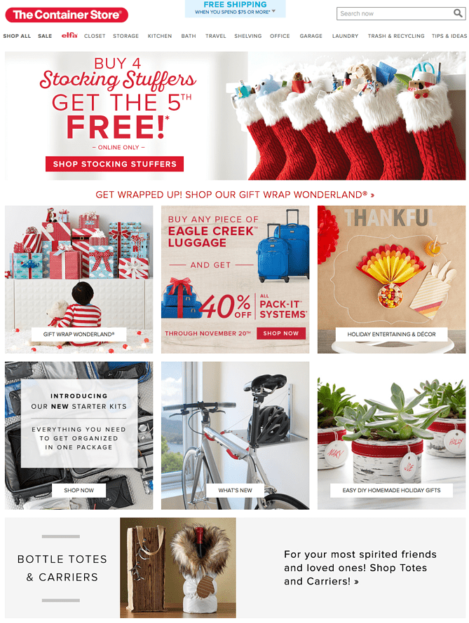 Holiday-ready web design UX example by Container Store