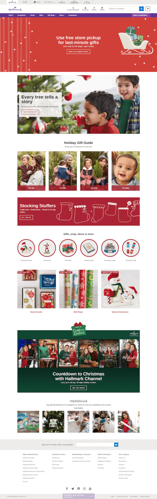 Holiday-ready web design UX example by Hallmark