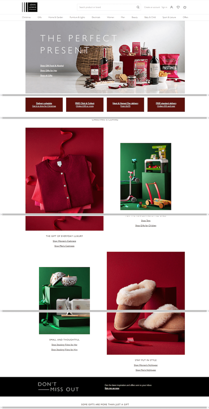 Holiday-ready web design UX example by John-Lewis