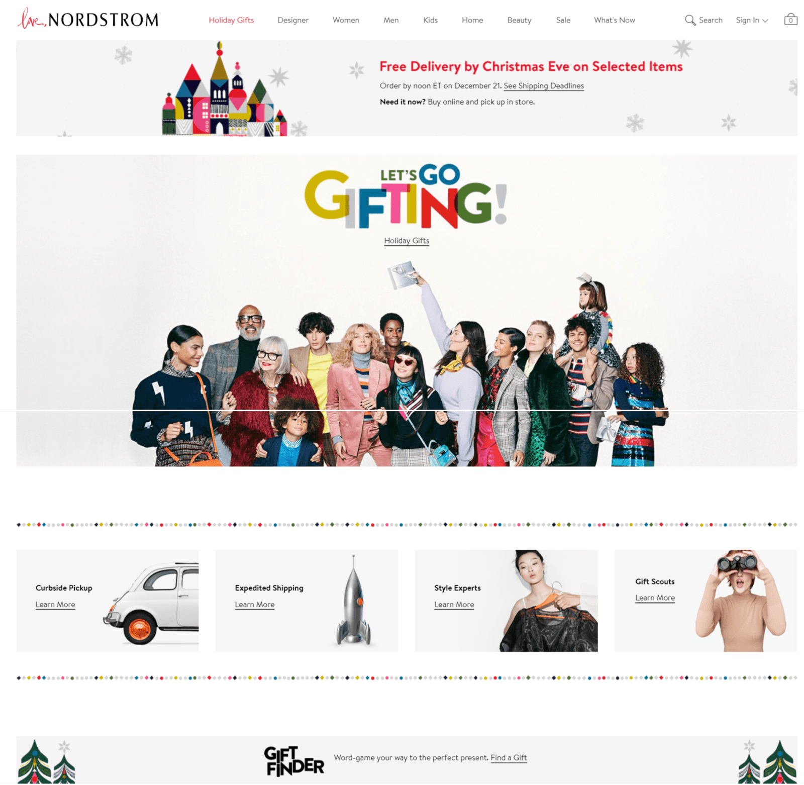 Holiday-ready web design UX example by Nordstrorm