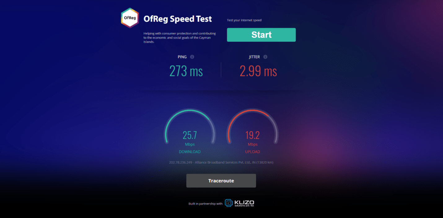 OfReg Speed Testing Tool by Klizo Solutions for The Cayman Government