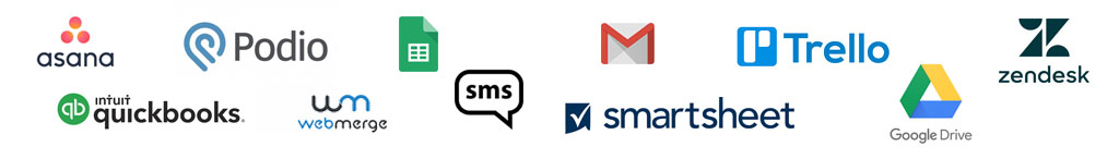 API Integration Gmail Trello SMS Google Sheets Drive Podio Asana